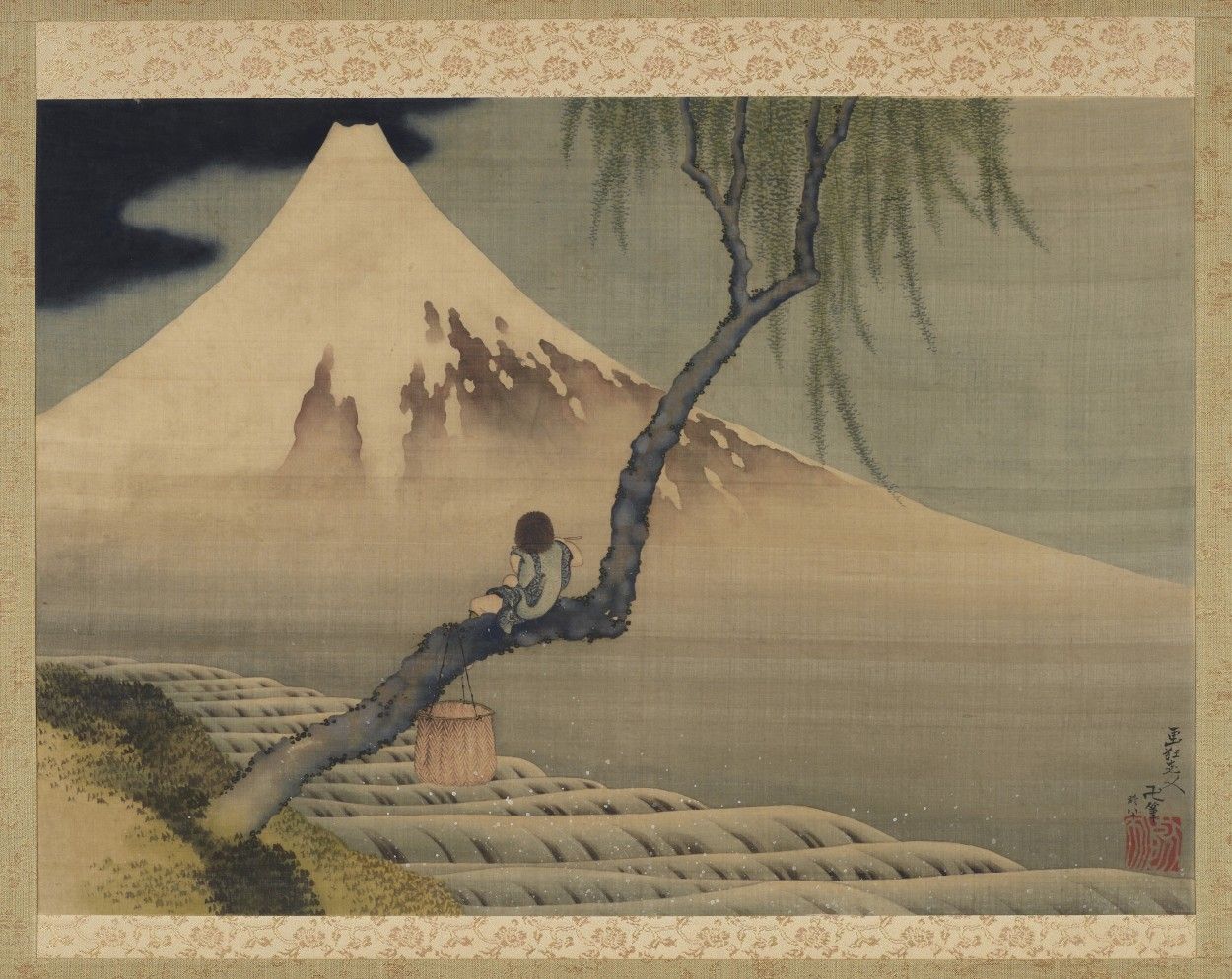 Boy Viewing Mount Fuji By Katsushika Hokusai Via Dailyart Mobile App