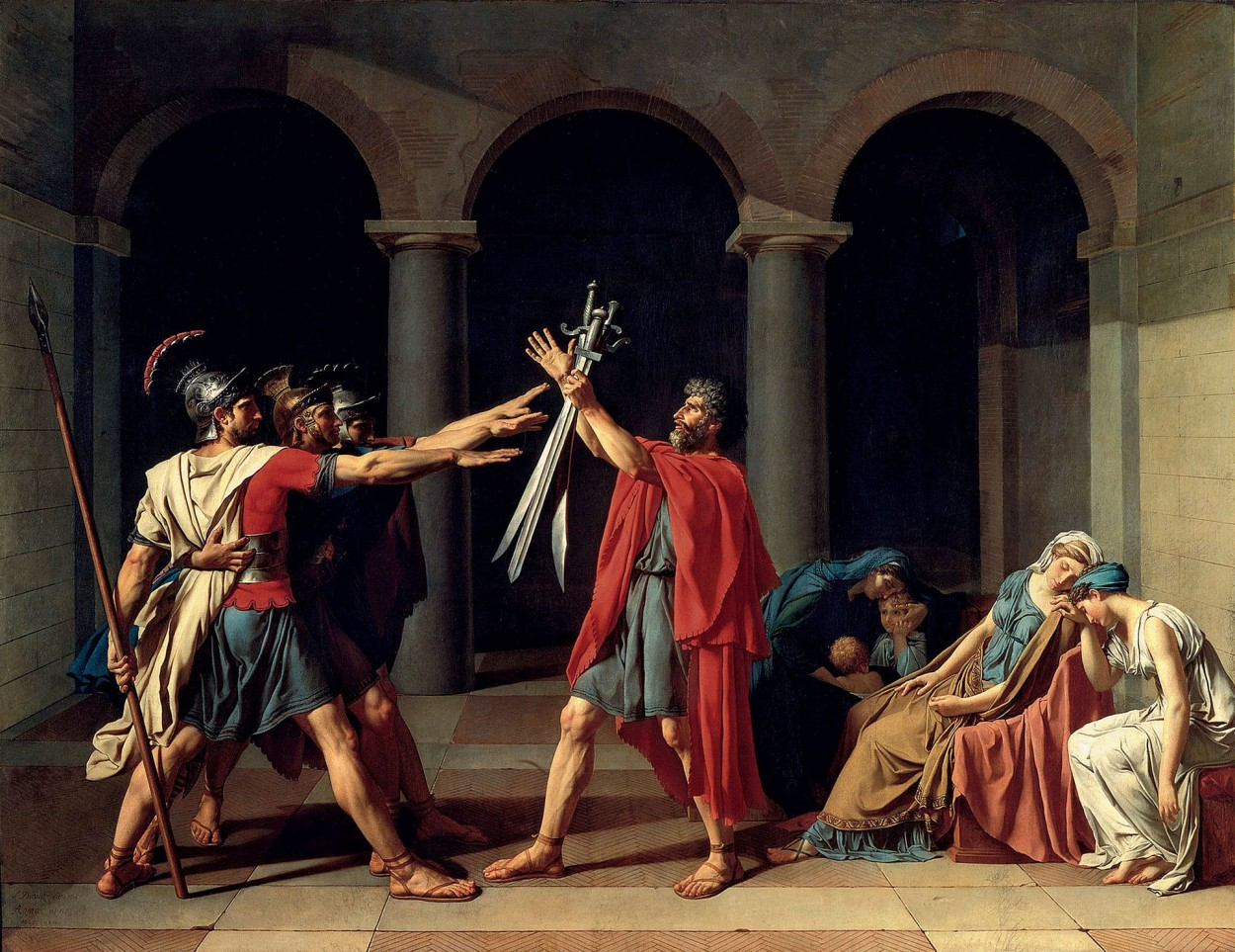 Oath of the Horatii by Jacques-Louis David via DailyArt app, your daily dose of art getdailyart.com
