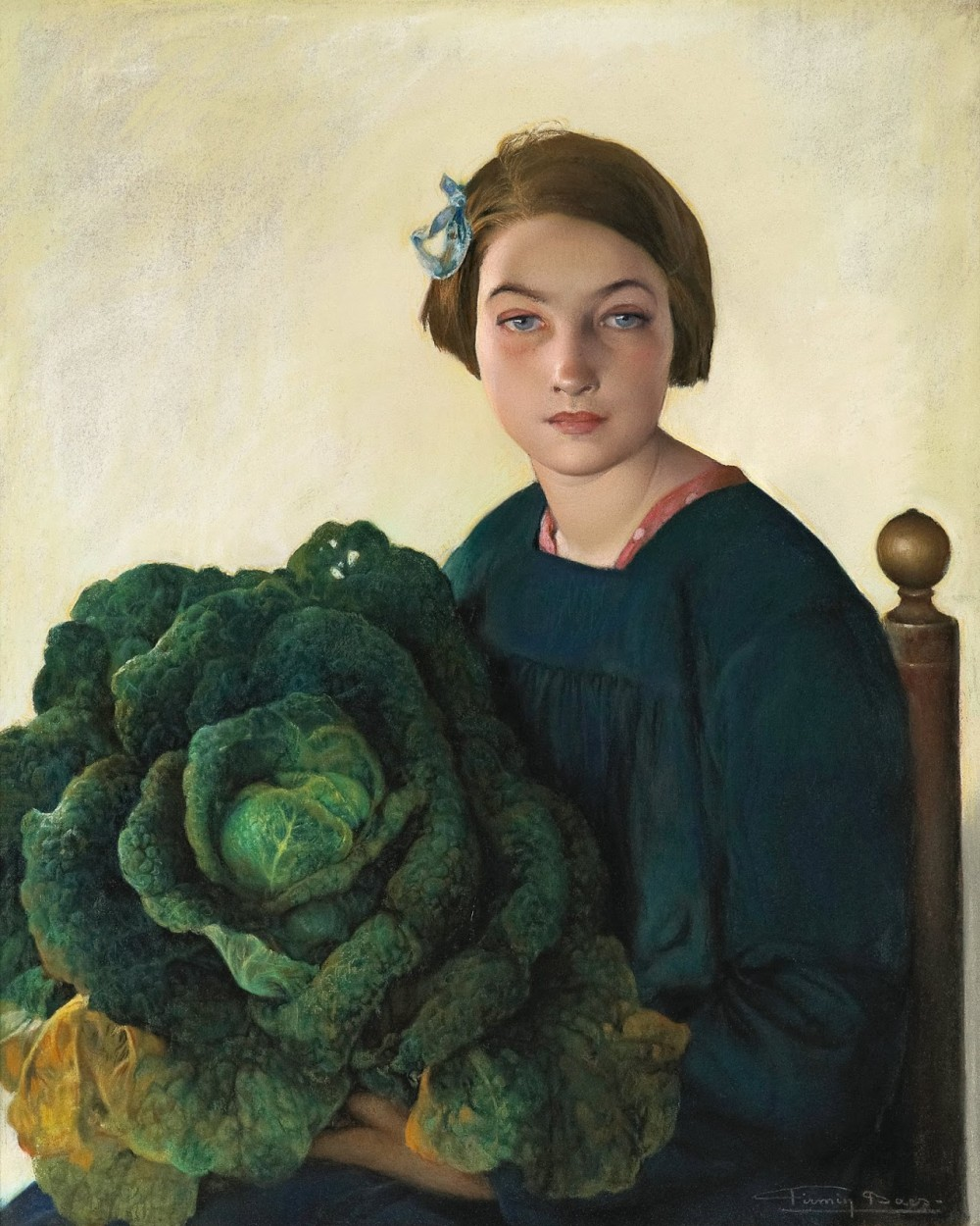 The Young Girl and the Cabbage by Firmin Baes via DailyArt app, your daily dose of art getdailyart.com