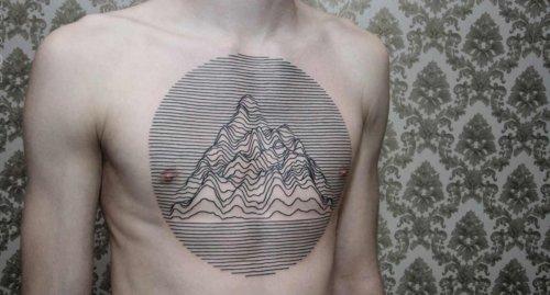 Tatuaggio di sole linee di Dots To Lines