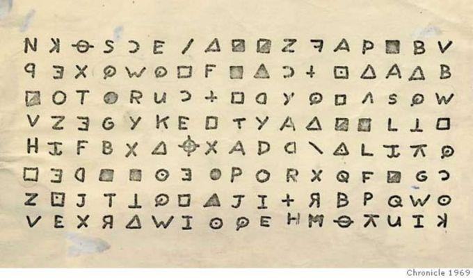 Una lettera cifrata del Killer dello Zodiaco