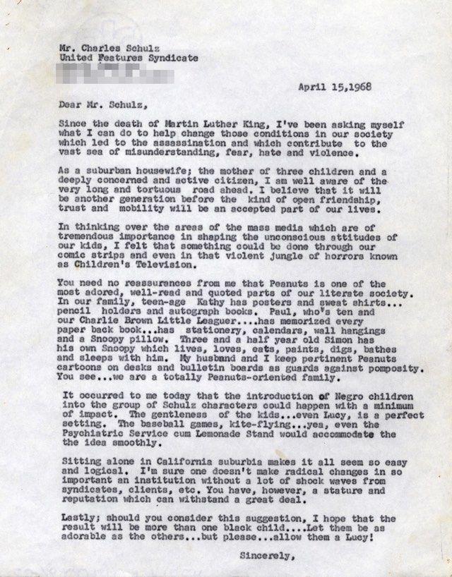 La lettera di Harriet Glinkman a Charles Schulz