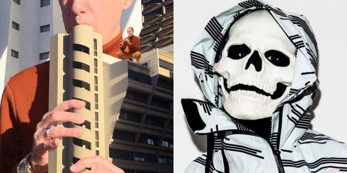 A sinistra la meravigliosa copertina di Aulos. A destra la maschera di Vladimir Cauchemar