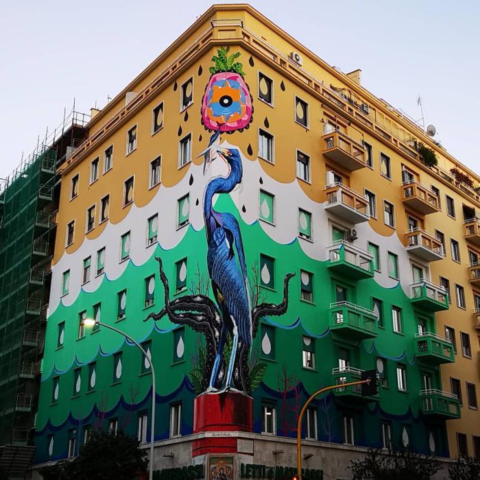 A Roma c'è un murales gigantesco che ripulisce l'aria dallo smog
