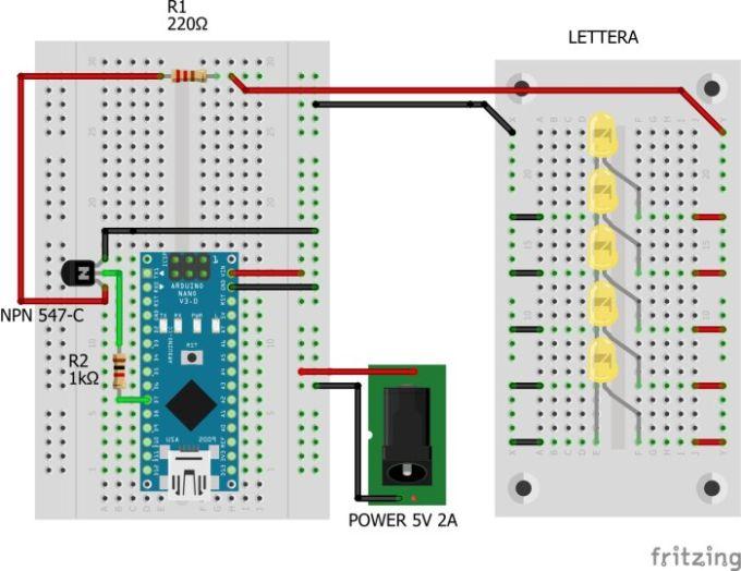 Schema del circuito elettrico per una lettera
