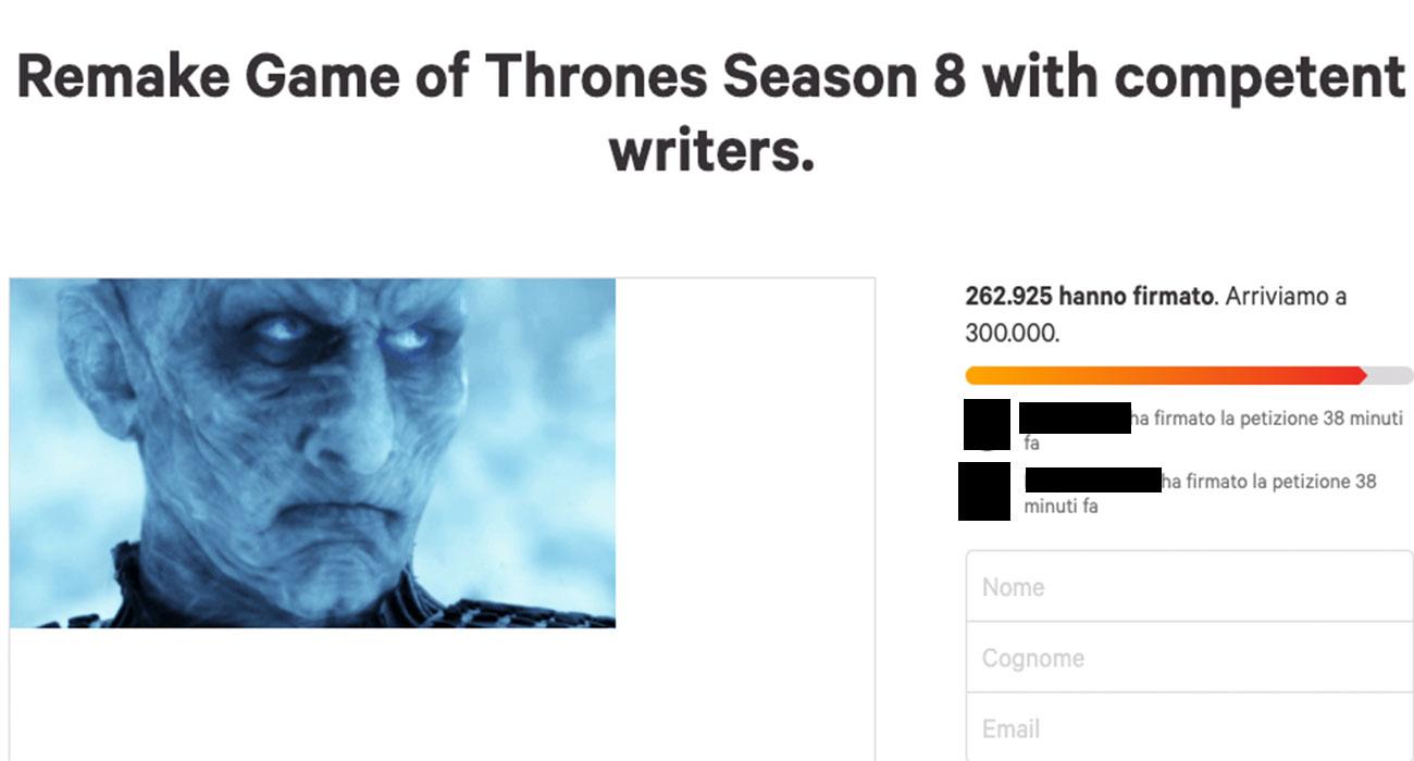 La petizione per rifare da capo l'ultima stagione di Game of Thrones è una sciocchezza