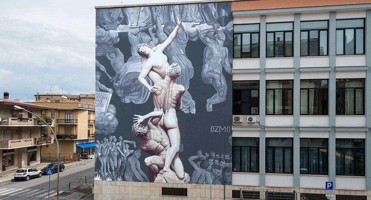 Al suono delle trombe, il nuovo monumentale murales di Ozmo a Rieti