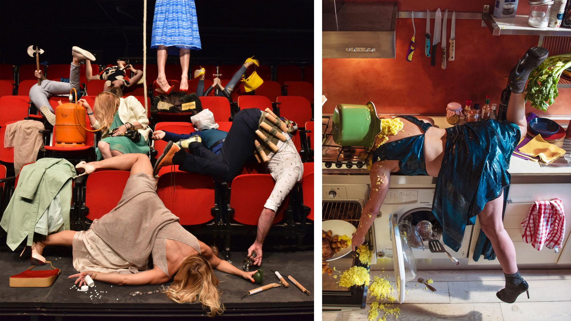 Le persone che si schiantano al suolo nelle fotografie di Sandro Giordano vi faranno ridere ma anche riflettere