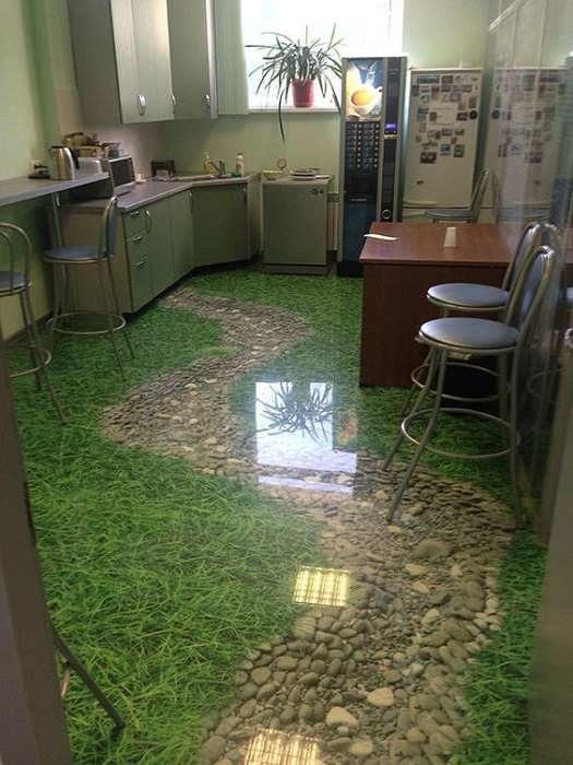 pavimento cucina d'erba finta