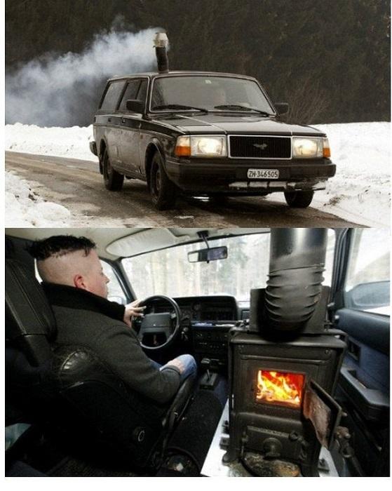 Il camino in auto!?