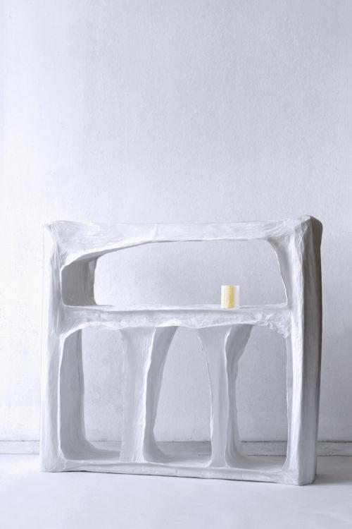 """""""A slice of cave,"""" carta, colla di riso e legno. 110 x 110 x 50 cm"""