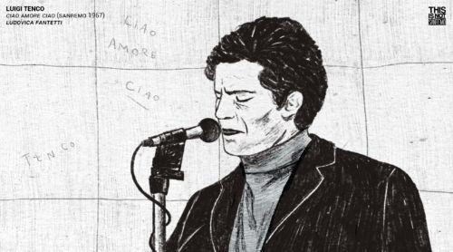 Luigi Tenco in una della tavole contenute nel VHS – Illustrazione di Ludovica Fantetti