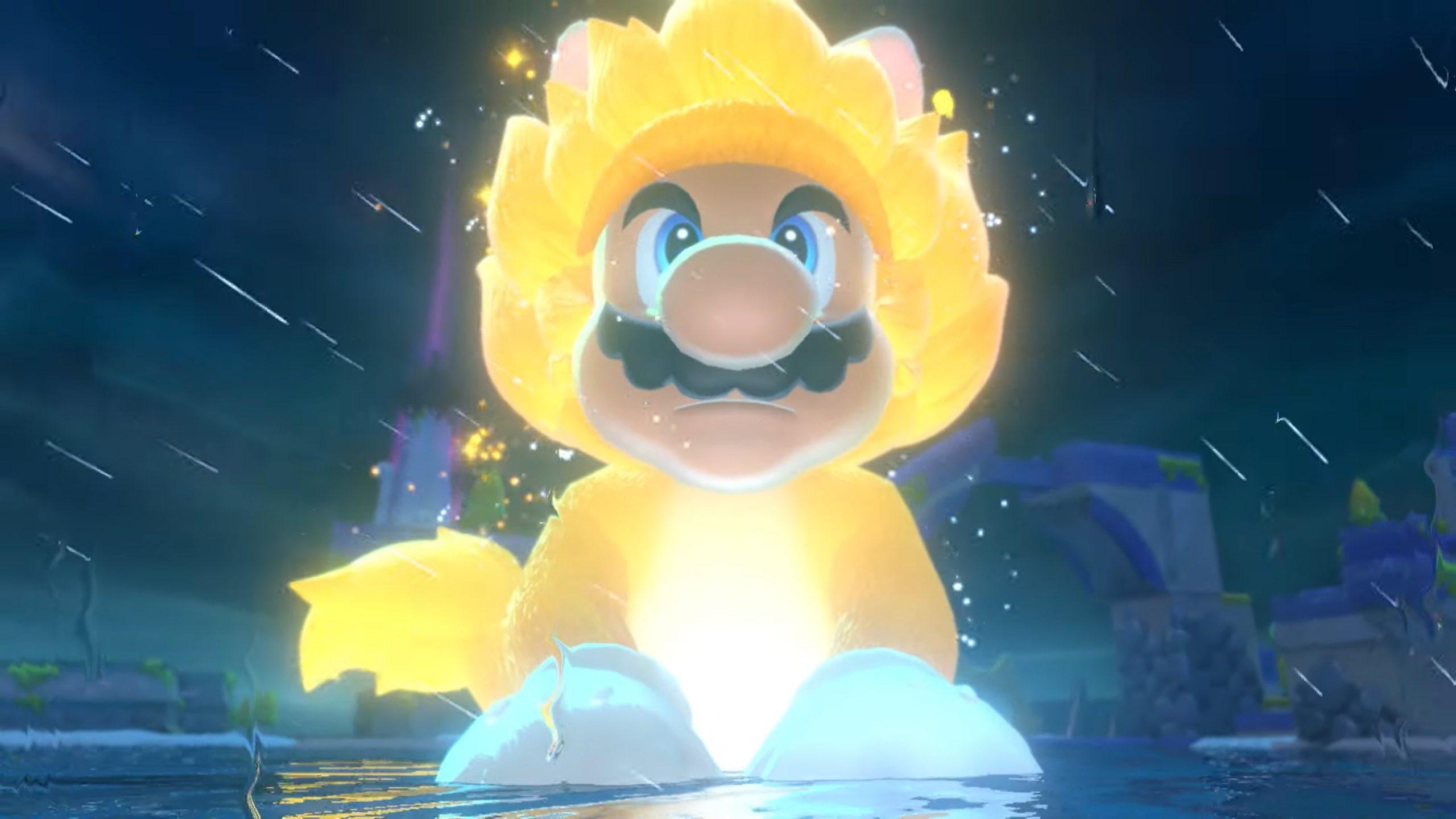 Fate largo a un Mario gigante versione gatto Super Sayan