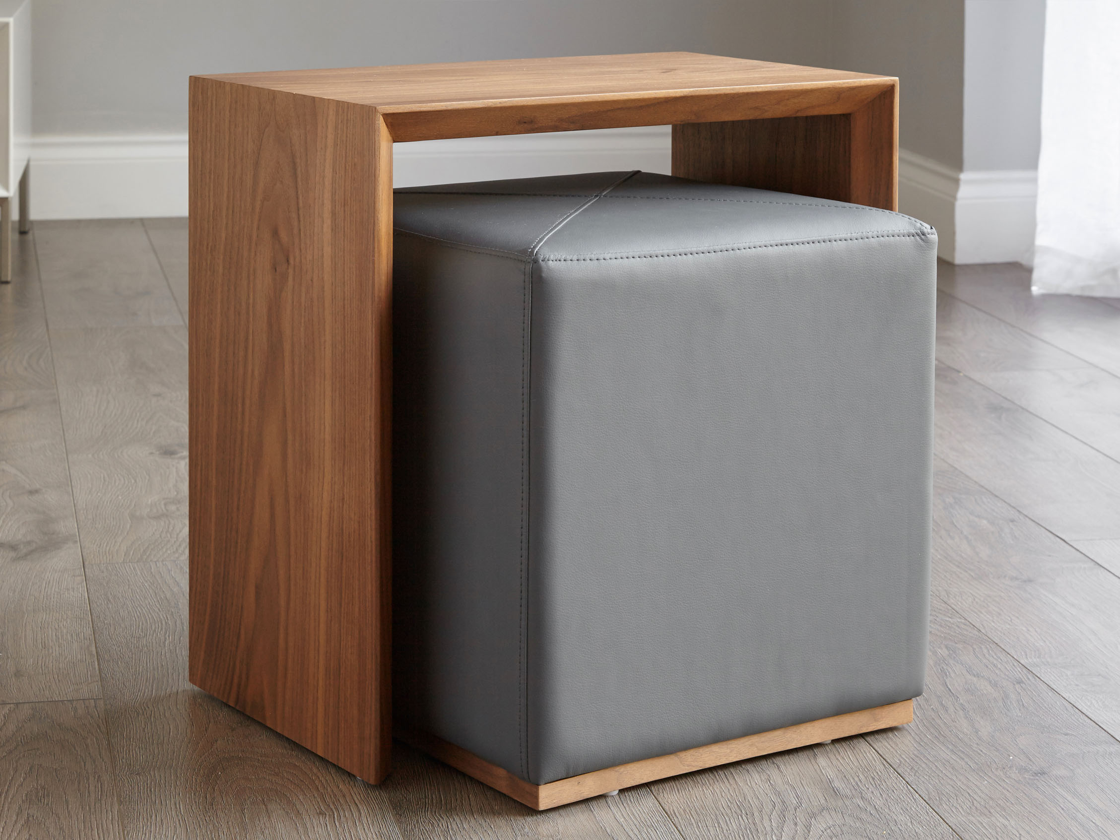 Modern Multipurpose Side Table Set Dark Grey