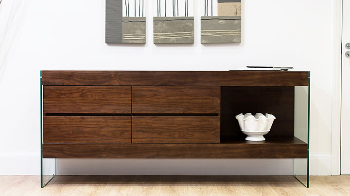 Aria Glass And Espresso Sideboard Information