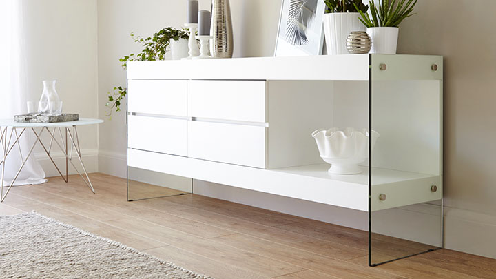 huge selection of a6d00 a5c4c White Oak Sideboard for Storage   Funky Tempered Glass Legs ...