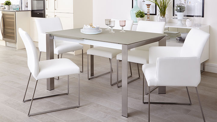 Marvelous Eve White Frosted Glass And Brushed Steel Extending Table Range