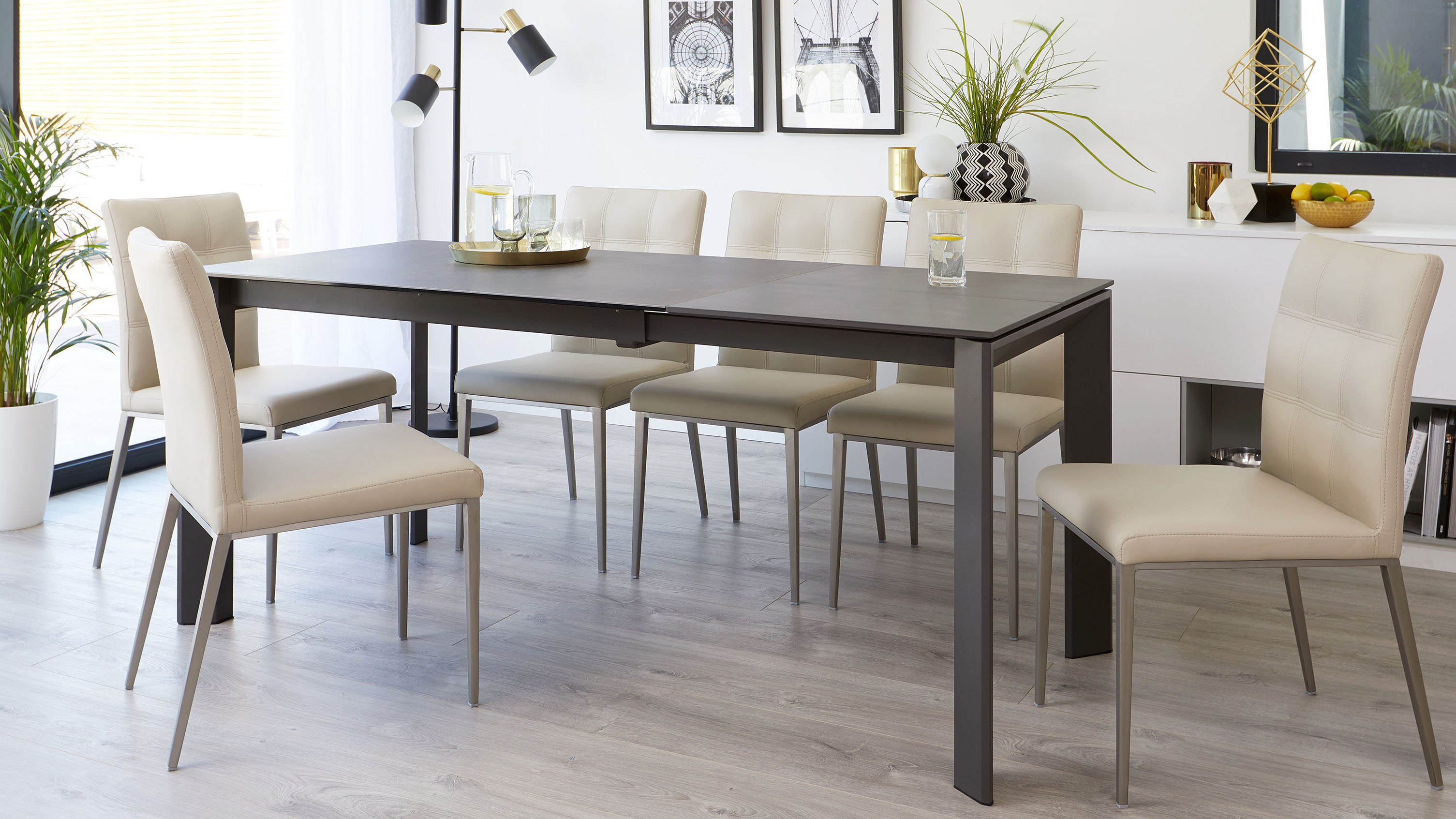 Awe Inspiring Louis Dark Grey Ceramic Extending Dining Table Danetti Ibusinesslaw Wood Chair Design Ideas Ibusinesslaworg