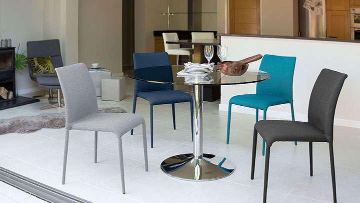 Modern Round Glass and Chrome Table   2 Seater   UK