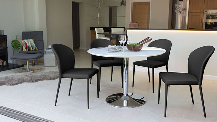 naro white gloss dining table - Round White Gloss Dining Table