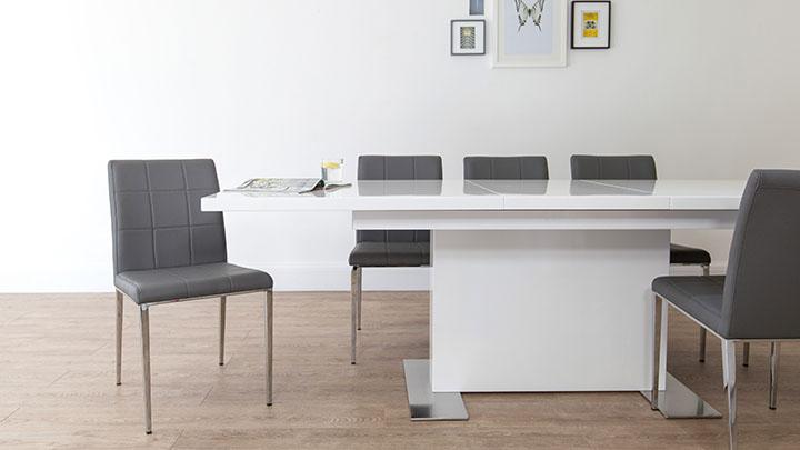 sanza white gloss extending dining table - White Gloss Extending Dining Table