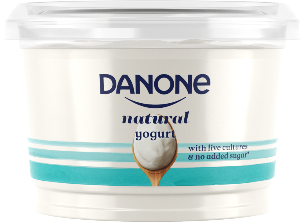 Danone natural yogurt live cultures no added sugar recyclable