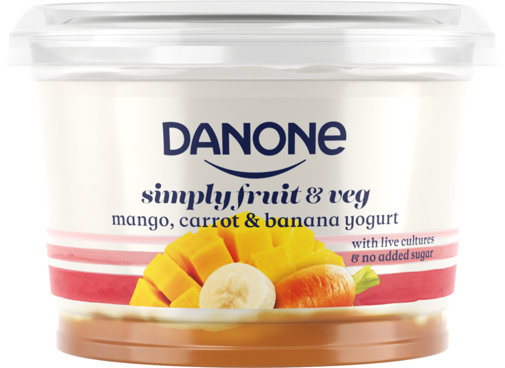 Danone mango carrot banana yogurt big pot live cultures no added sugar recyclable b corp