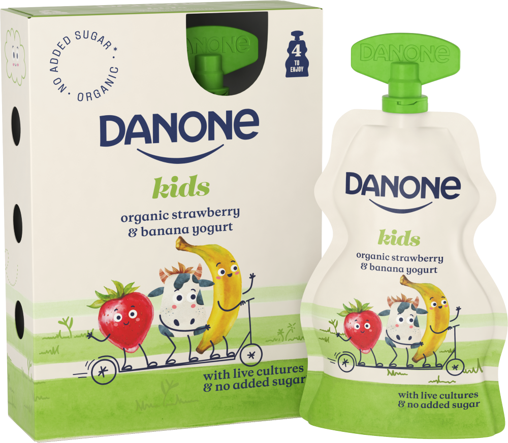 Danone organic kids strawberry banana yogurt pouch live cultures no added sugar recyclable b corp