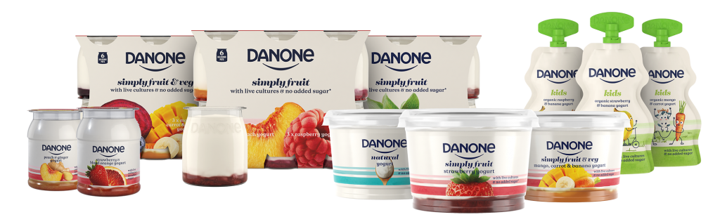 Danone yogurt no added sugar 100% recyclable simple natural healthy