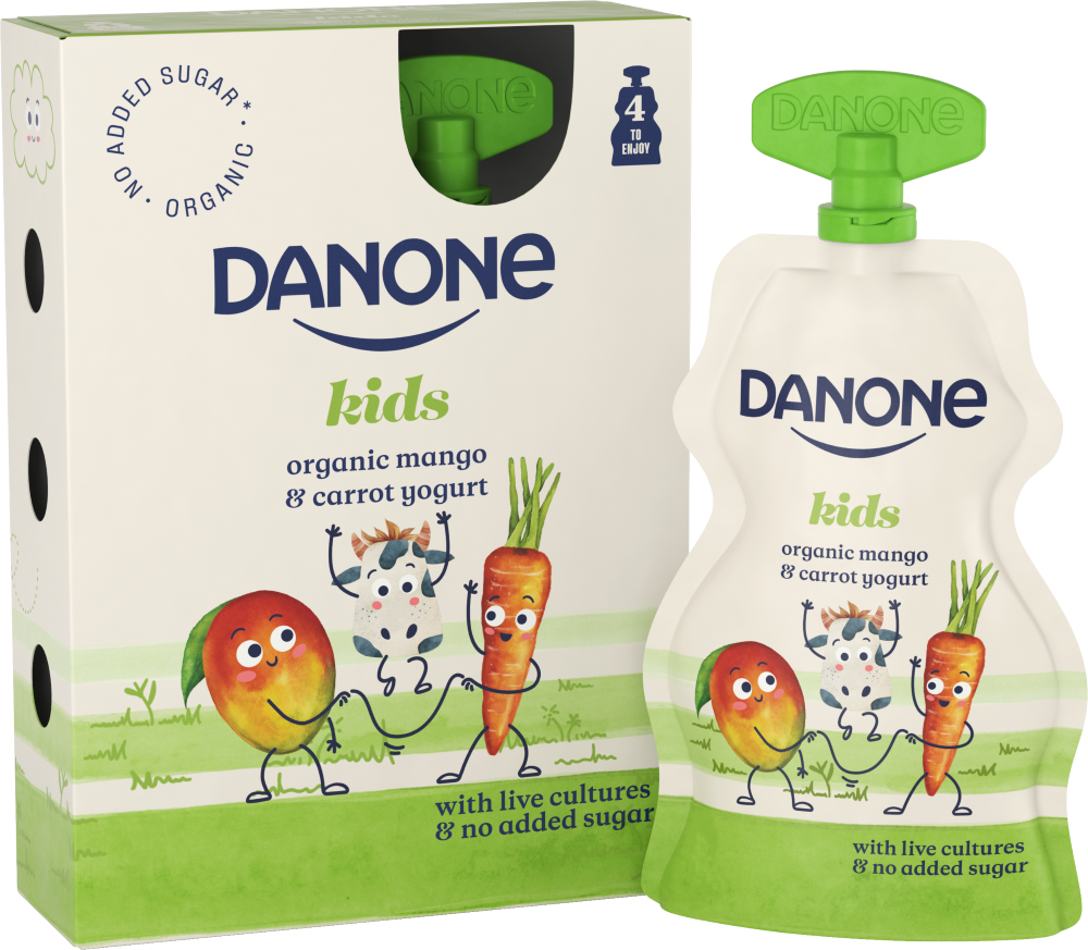 Danone organic kids mango carrot yogurt pouch live cultures no added sugar recyclable b corp