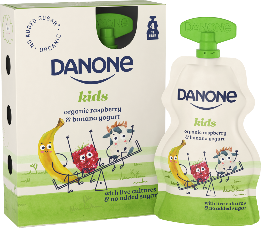 Danone organic kids raspberry banana yogurt pouch live cultures no added sugar recyclable b corp