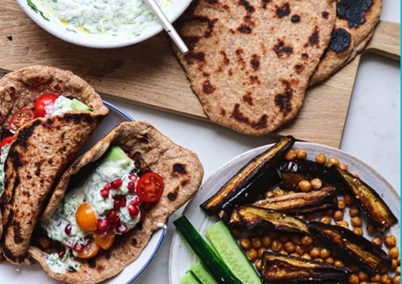 Za'atar Aubergine Flatbreads with yogurt by Madeline Shaw