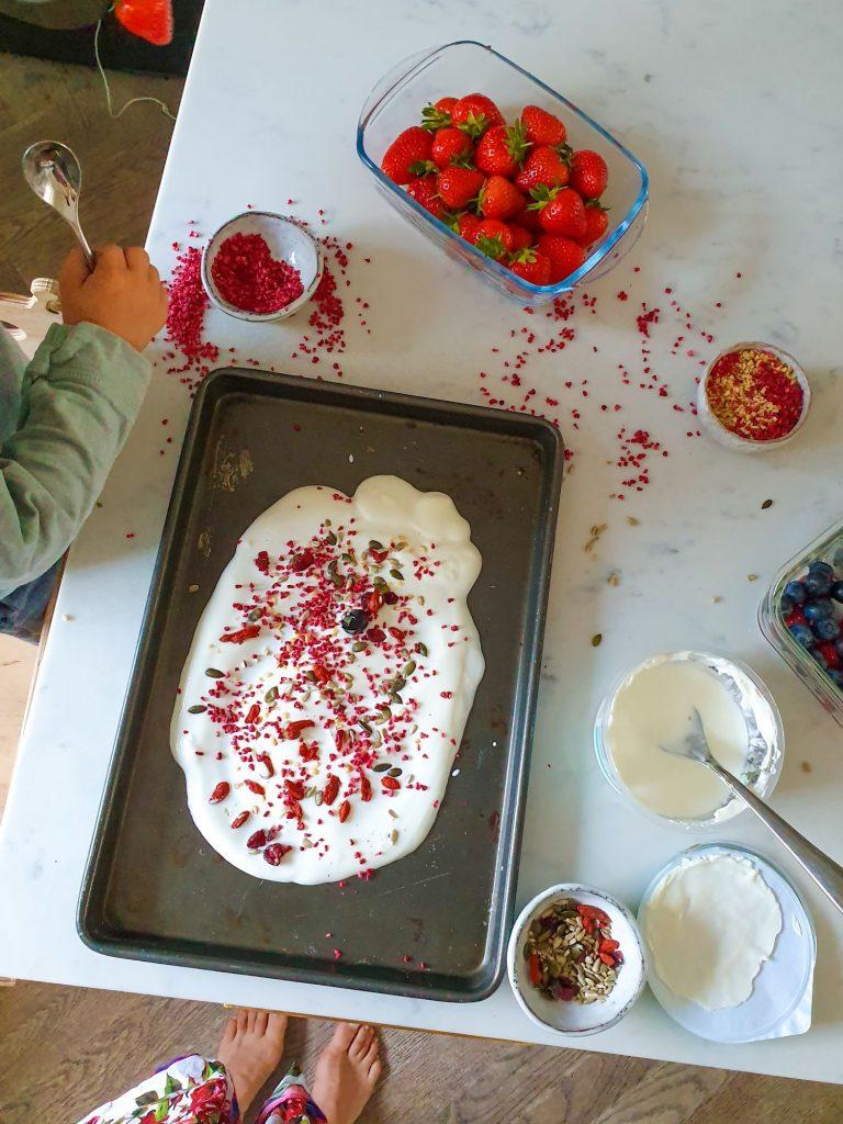 Danone yogurt bark recipe with fruit
