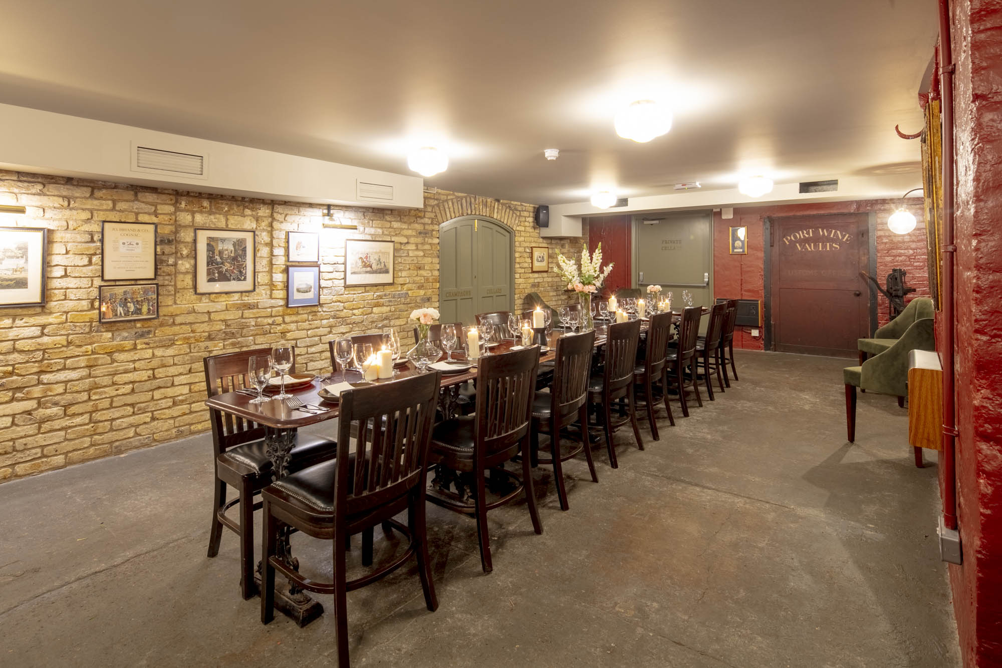 Private Victoria cellar room at Davy's Wine Vaults