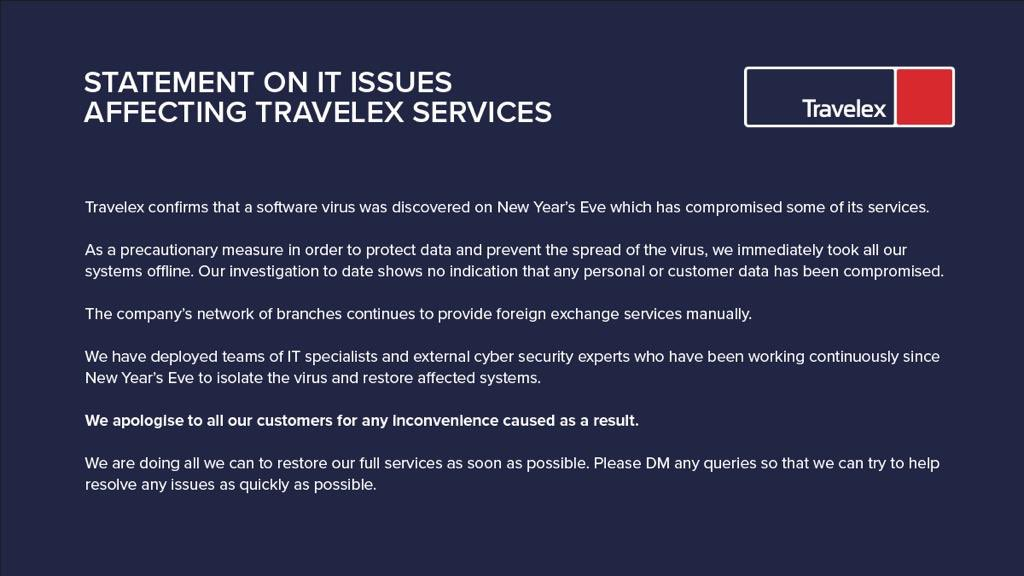 Travelex ransomware social media statement