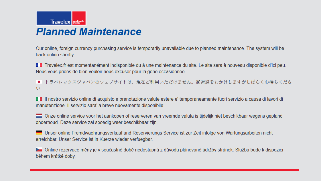 Travelex planned maintenance statement
