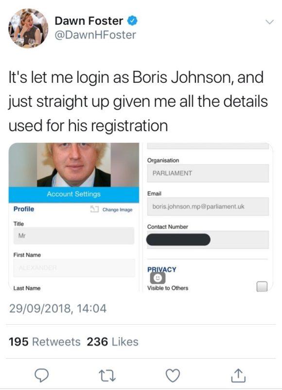 Boris Johnson data details
