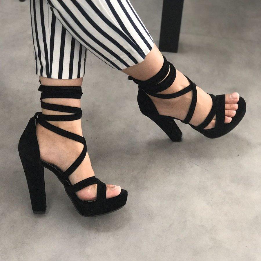 Lisia Siyah Süet Platform Topuklu Ayakkabı