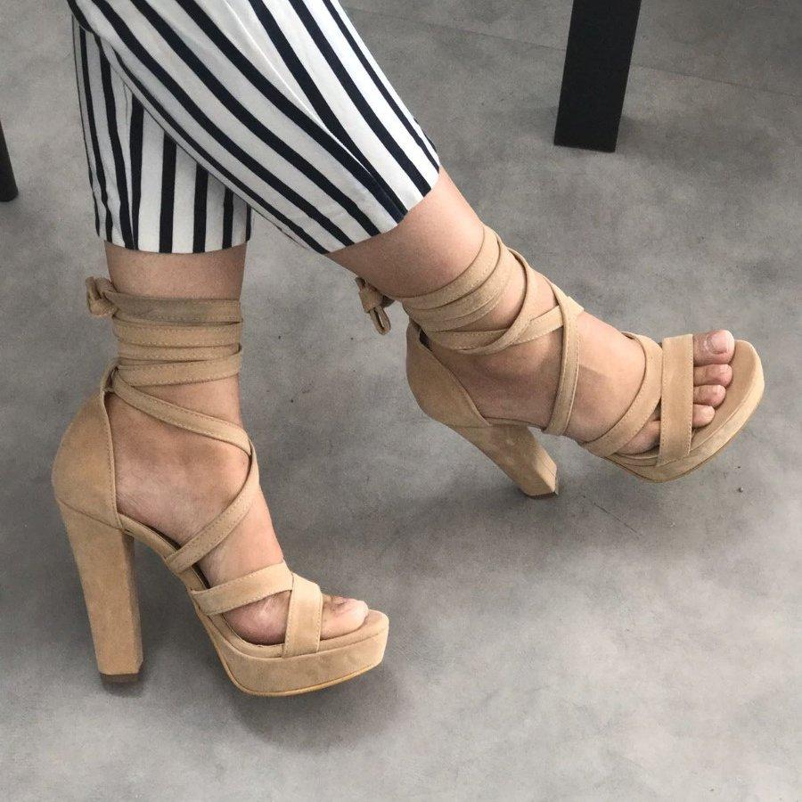 Lisia Ten Süet Platform Topuklu Ayakkabı