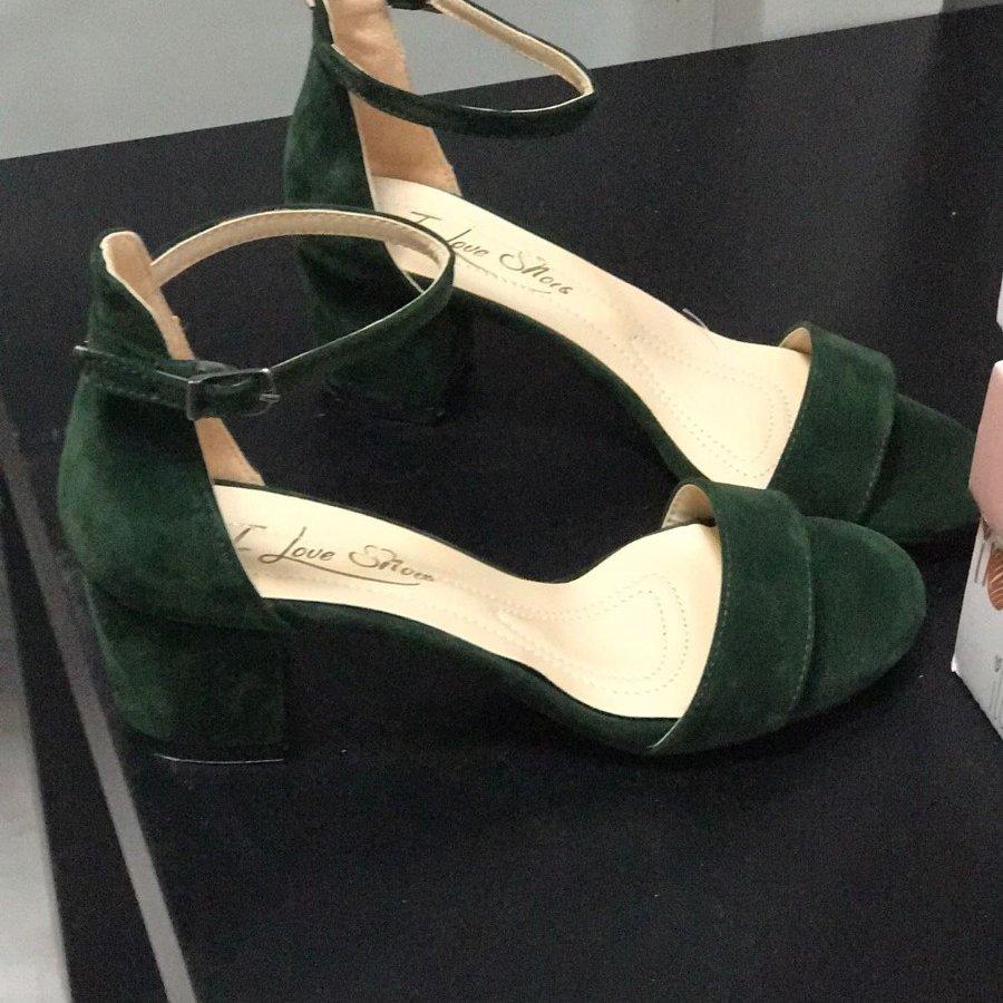 Mia Haki Yeşili Süet İnce Bantlı Topuklu Ayakkabı