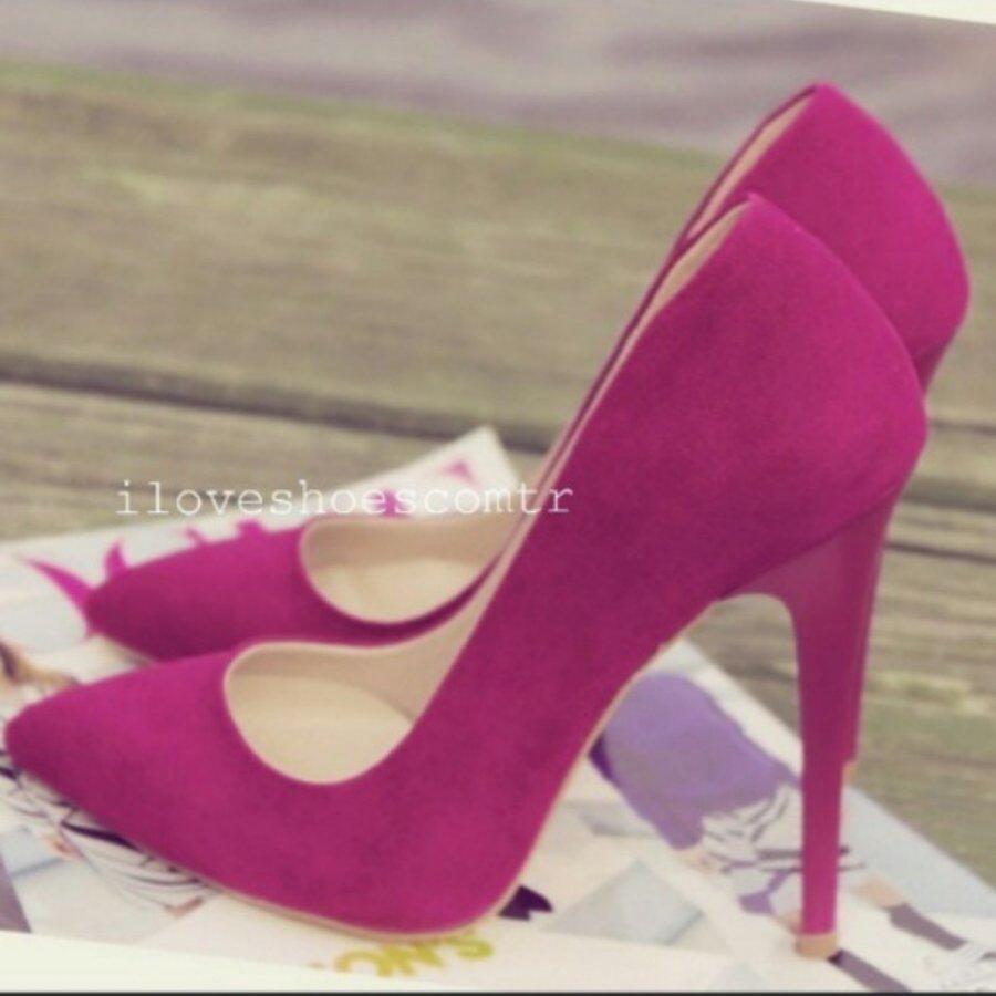 Barbie Fuşya Süet Stiletto Ayakkabı