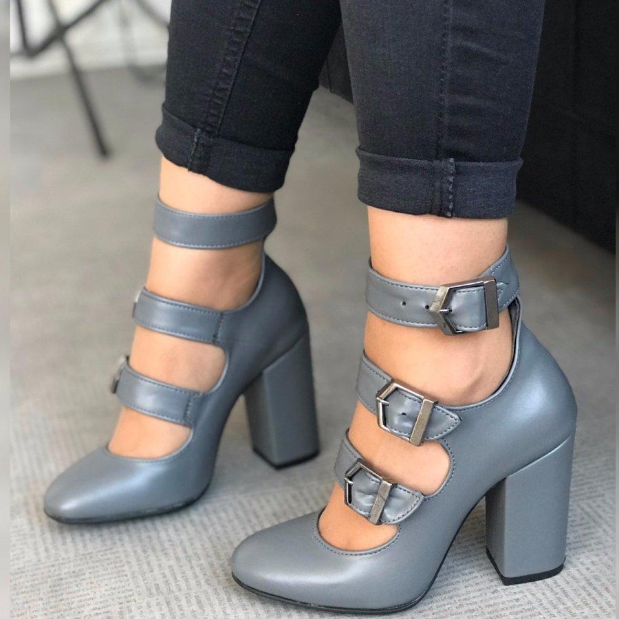 Carmen Max Gri Cilt Ayakkabı