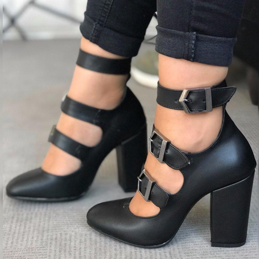 Carmen Max Siyah Cilt Ayakkabı