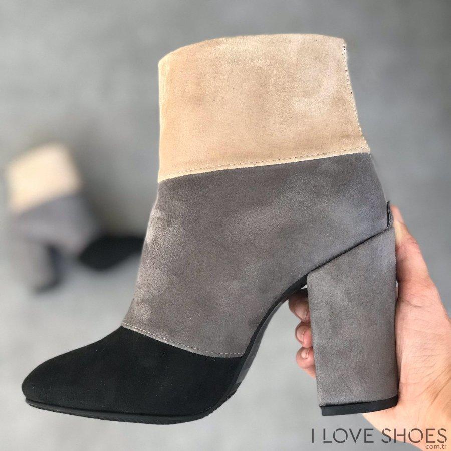 Vivien Gri Süet Ayakkabı
