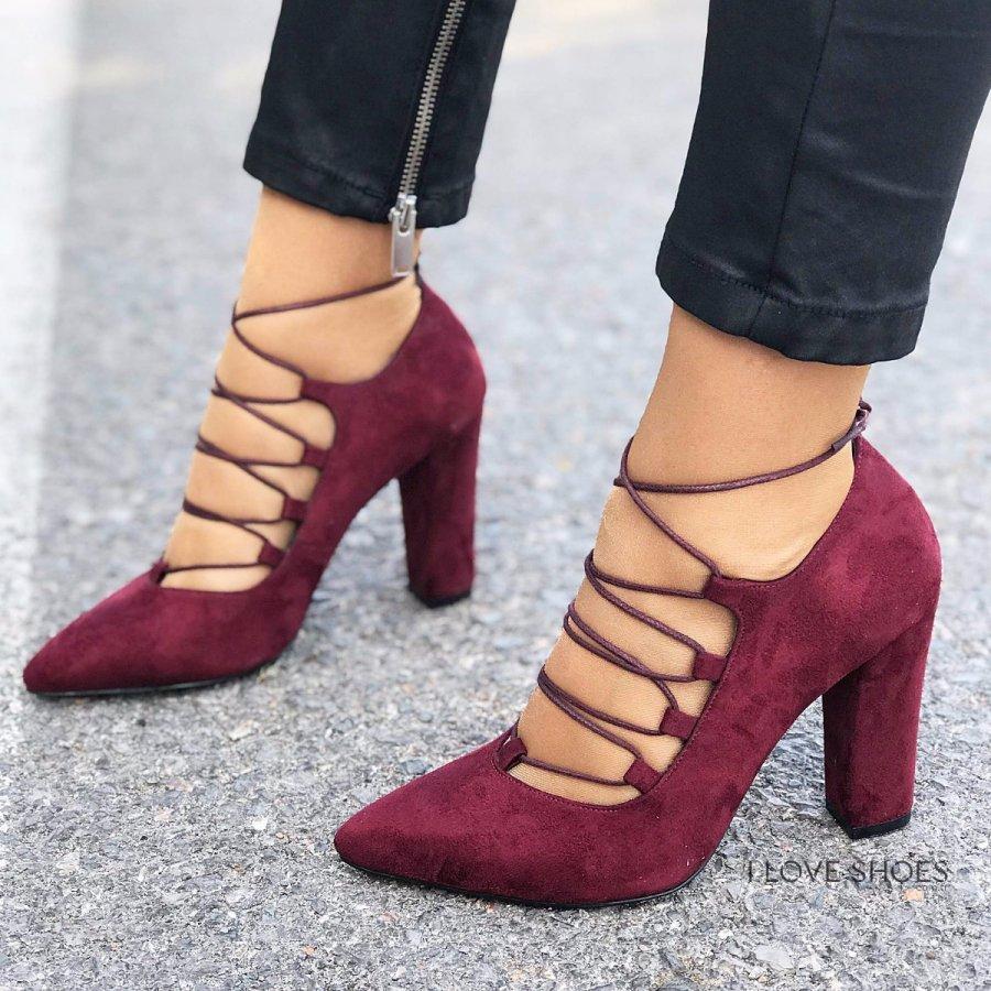 Aldonza Bordo Süet Topuklu Ayakkabı Bordo