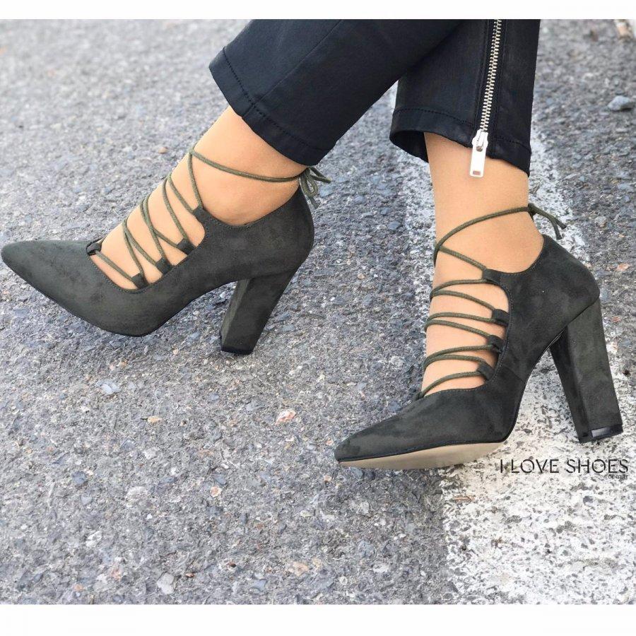 Aldonza Haki Süet Topuklu Ayakkabı