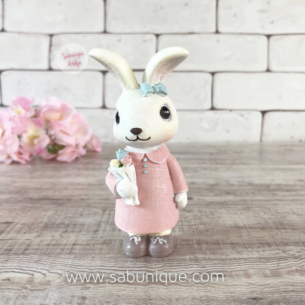 Çiçek Buketli Sevimli Tavşancık Silikon Kalıbı