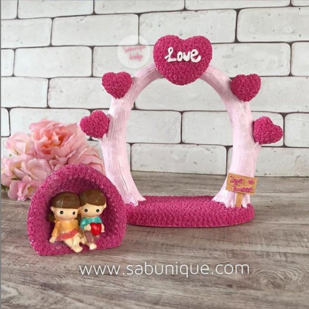 Kalpli Aşk Ağacı ve Sevgililer Silikon Kalıbı