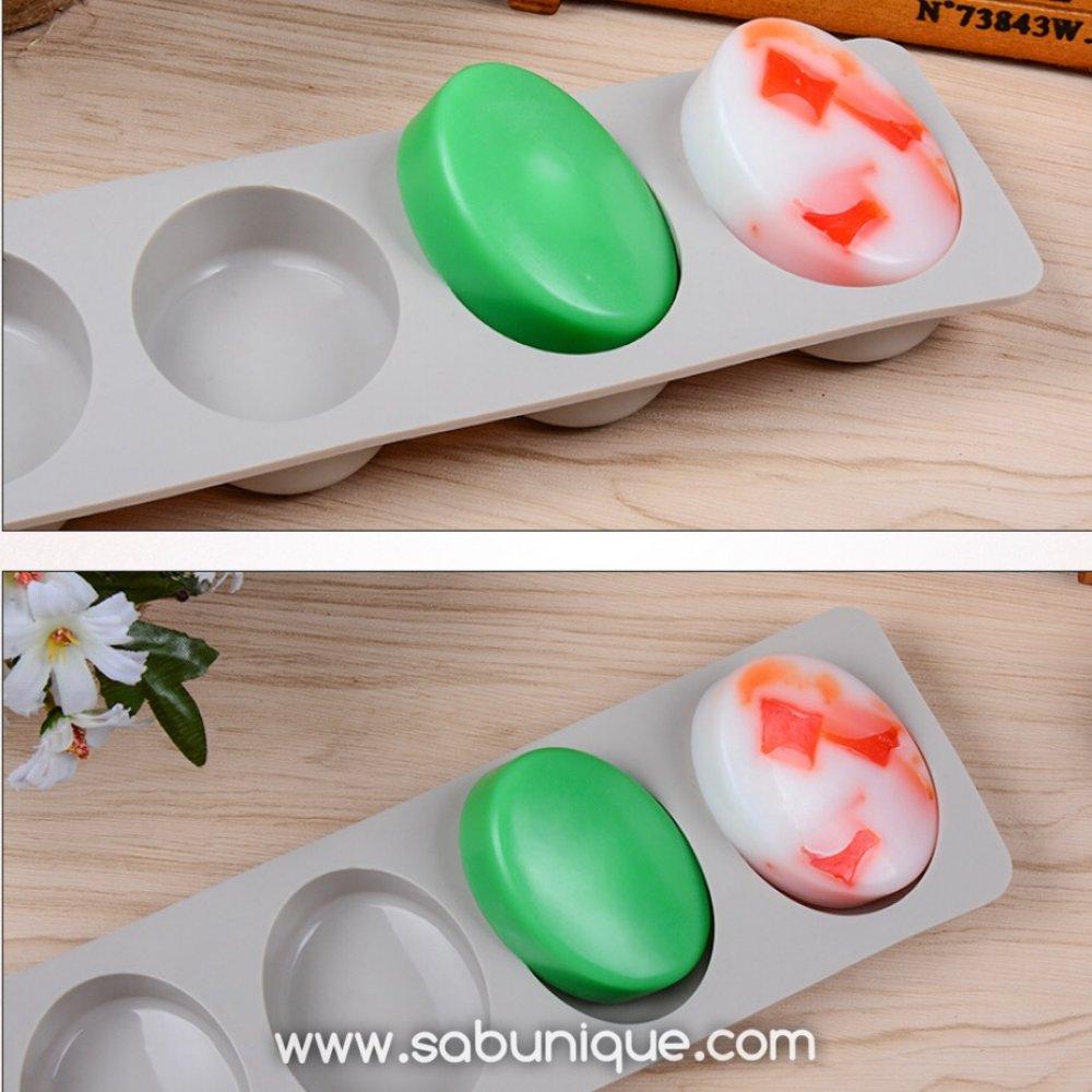 Dörtlü Oval Sabun Silikon Kalıbı