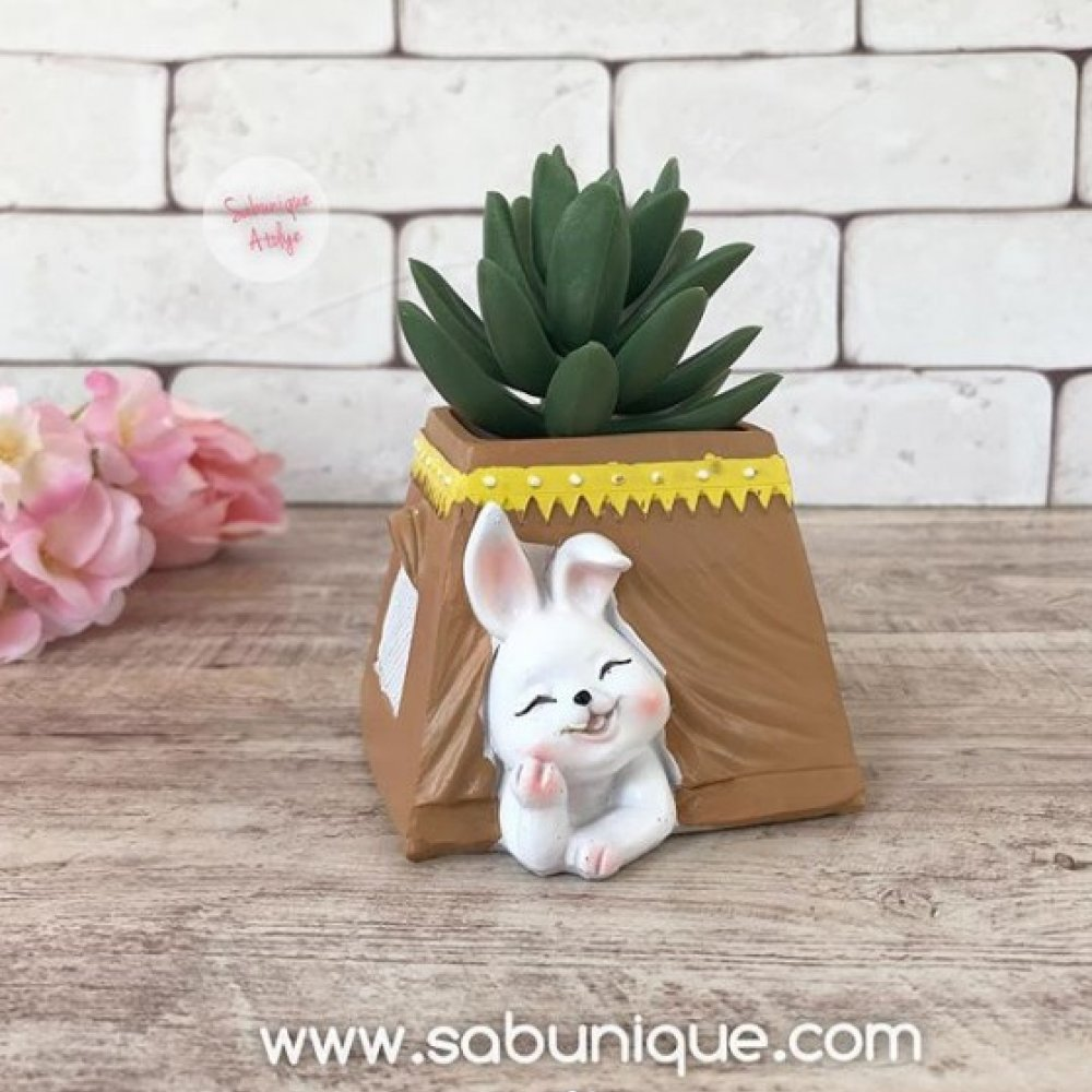 Çadırda Tavşan Saksı Silikon Kalıbı